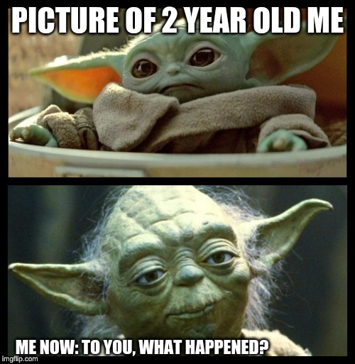PICTURE OF 2 YEAR OLD ME ME NOW: TO YOU, WHAT HAPPENED? | image tagged in baby yoda | made w/ Imgflip meme maker