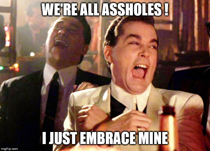 Good Fellas Hilarious Meme | WE'RE ALL ASSHOLES ! I JUST EMBRACE MINE | image tagged in memes,good fellas hilarious | made w/ Imgflip meme maker