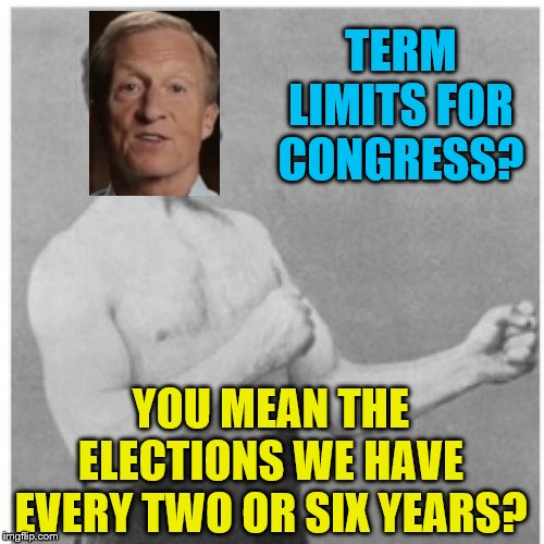 If you want to make congress afraid, make it so the people, not congress, vote for whether or not they get a raise! | TERM LIMITS FOR CONGRESS? YOU MEAN THE ELECTIONS WE HAVE EVERY TWO OR SIX YEARS? | image tagged in memes,overly manly man,tom steyer,political meme,congress | made w/ Imgflip meme maker