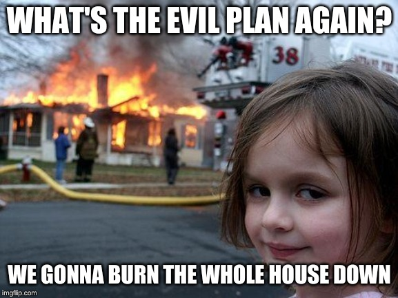 Disaster Girl Meme | WHAT'S THE EVIL PLAN AGAIN? WE GONNA BURN THE WHOLE HOUSE DOWN | image tagged in memes,disaster girl | made w/ Imgflip meme maker