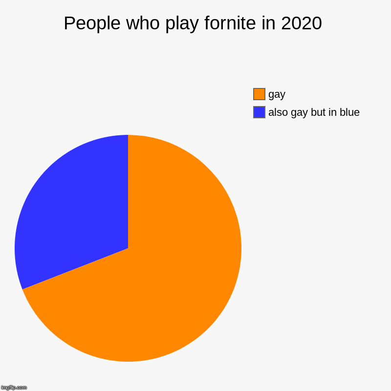 People who play fornite in 2020 | also gay but in blue, gay | image tagged in charts,pie charts | made w/ Imgflip chart maker