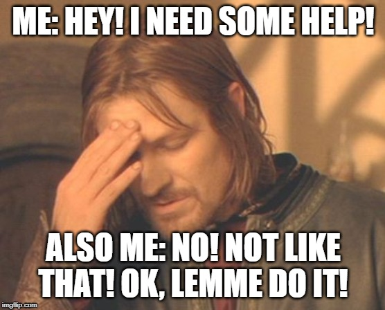 Frustrated Boromir |  ME: HEY! I NEED SOME HELP! ALSO ME: NO! NOT LIKE THAT! OK, LEMME DO IT! | image tagged in memes,frustrated boromir | made w/ Imgflip meme maker