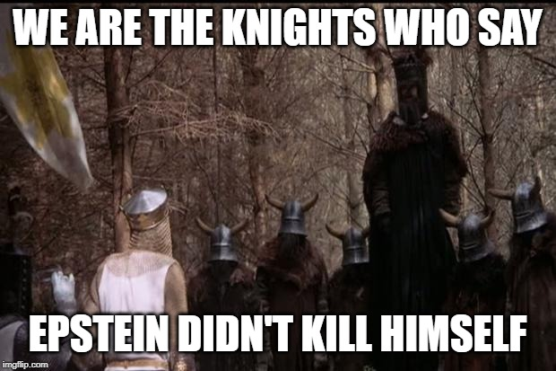knights who say ni | WE ARE THE KNIGHTS WHO SAY EPSTEIN DIDN'T KILL HIMSELF | image tagged in knights who say ni | made w/ Imgflip meme maker