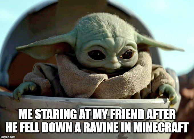 baby yoda looking down | ME STARING AT MY FRIEND AFTER HE FELL DOWN A RAVINE IN MINECRAFT | image tagged in baby yoda looking down | made w/ Imgflip meme maker