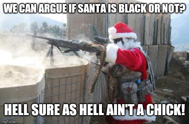Hohoho Meme | WE CAN ARGUE IF SANTA IS BLACK OR NOT? HELL SURE AS HELL AIN'T A CHICK! | image tagged in memes,hohoho | made w/ Imgflip meme maker