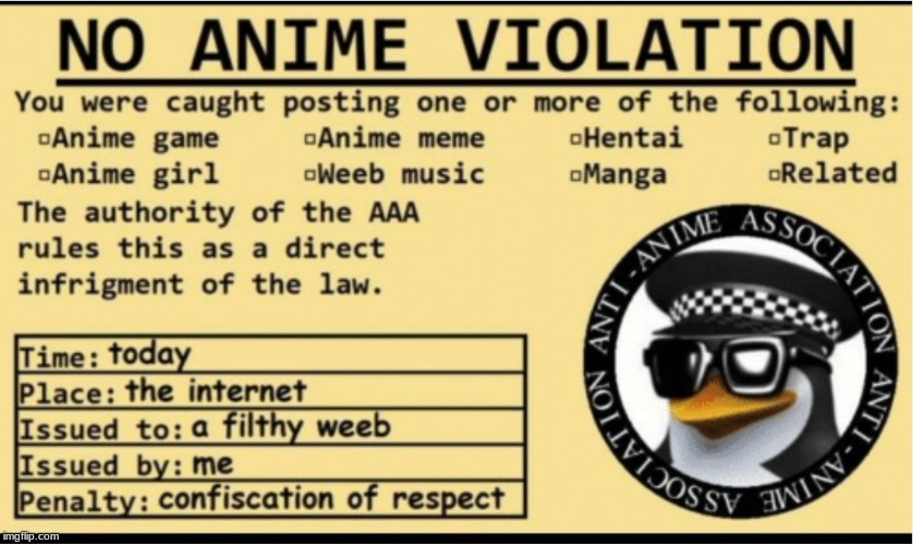 NO ANIME VIOLATION | image tagged in no anime violation | made w/ Imgflip meme maker