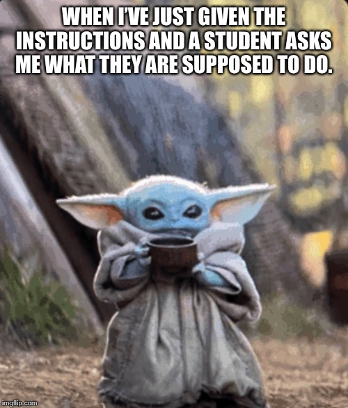 WHEN I'VE JUST GIVEN THE INSTRUCTIONS AND A STUDENT ASKS ME WHAT THEY ARE SUPPOSED TO DO. | image tagged in teaching | made w/ Imgflip meme maker