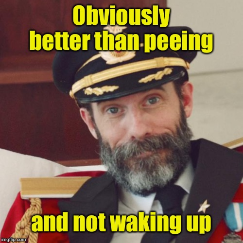 Captain Obvious | Obviously better than peeing and not waking up | image tagged in captain obvious | made w/ Imgflip meme maker