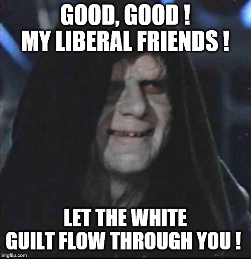 GOOD, GOOD ! MY LIBERAL FRIENDS ! LET THE WHITE GUILT FLOW THROUGH YOU ! | made w/ Imgflip meme maker