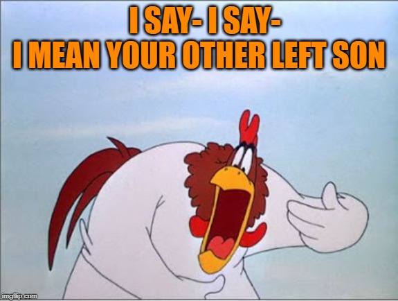 foghorn | I SAY- I SAY- I MEAN YOUR OTHER LEFT SON | image tagged in foghorn | made w/ Imgflip meme maker