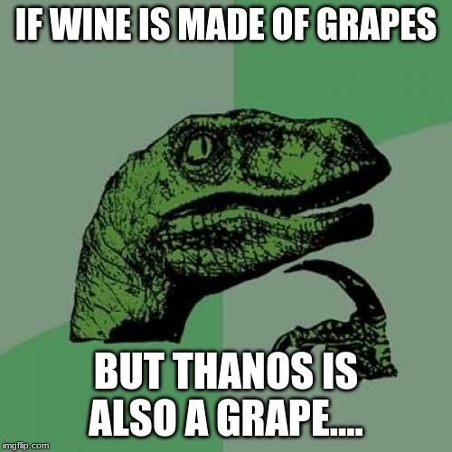 Philosoraptor Meme | IF WINE IS MADE OF GRAPES BUT THANOS IS ALSO A GRAPE.... | image tagged in memes,philosoraptor | made w/ Imgflip meme maker