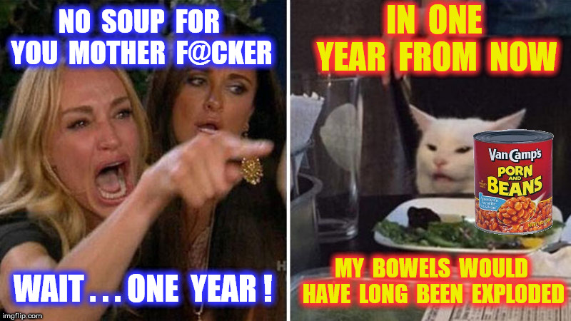 NO  SOUP  FOR  YOU  MOTHER  F@CKER WAIT . . . ONE  YEAR ! IN  ONE  YEAR  FROM  NOW MY  BOWELS  WOULD  HAVE  LONG  BEEN  EXPLODED | made w/ Imgflip meme maker