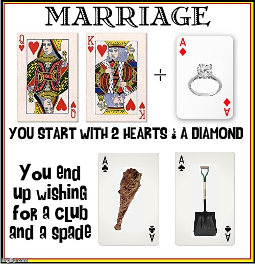 It's All in the Cards | MARRIAGE You end up wishing for a club and a spade YOU START WITH 2 HEARTS & A DIAMOND | image tagged in vince vance,deck of cards,diamond,spade,marriage,hearts | made w/ Imgflip meme maker