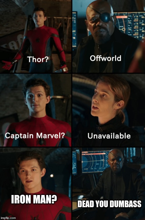 Thor off-world captain marvel unavailable |  DEAD YOU DUMBASS; IRON MAN? | image tagged in thor off-world captain marvel unavailable | made w/ Imgflip meme maker