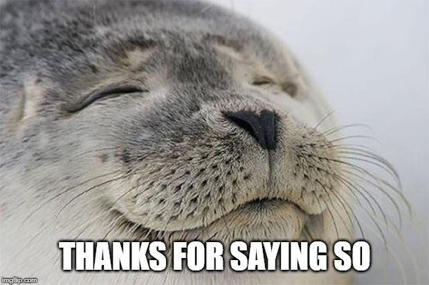 THANKS FOR SAYING SO | image tagged in memes,satisfied seal | made w/ Imgflip meme maker