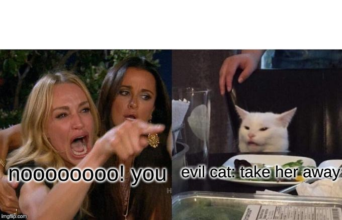 noooooooo! you evil cat: take her away | image tagged in memes,woman yelling at cat | made w/ Imgflip meme maker