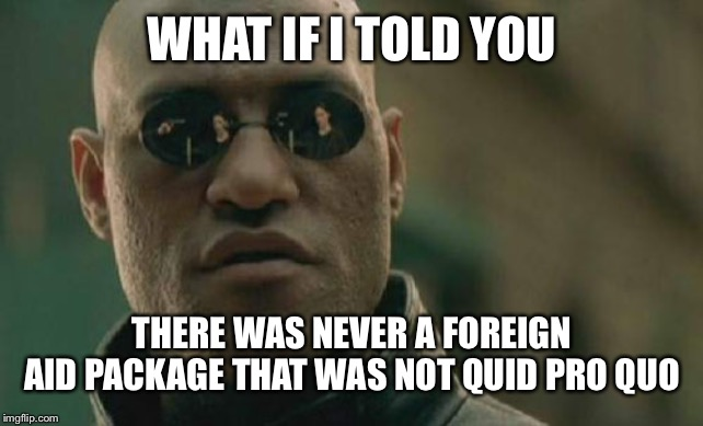 Matrix Morpheus | WHAT IF I TOLD YOU THERE WAS NEVER A FOREIGN AID PACKAGE THAT WAS NOT QUID PRO QUO | image tagged in memes,matrix morpheus,maga,trump 2020,impeachment | made w/ Imgflip meme maker