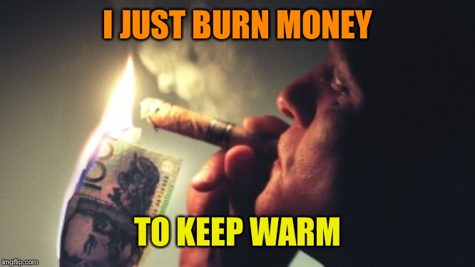 I JUST BURN MONEY TO KEEP WARM | made w/ Imgflip meme maker