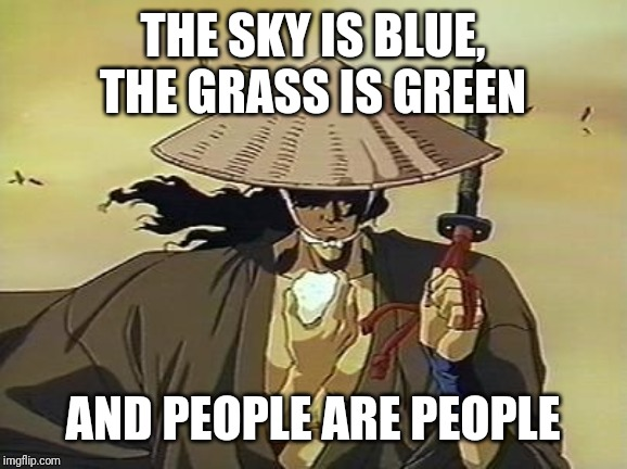 The sky is blue, the grass is green and people are people | THE SKY IS BLUE, THE GRASS IS GREEN AND PEOPLE ARE PEOPLE | image tagged in jubei ninja scroll,people,stupid people,ninja,anime,quotes | made w/ Imgflip meme maker