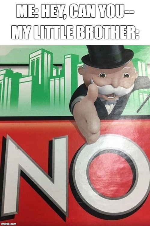 Monopoly No |  ME: HEY, CAN YOU--; MY LITTLE BROTHER: | image tagged in monopoly no | made w/ Imgflip meme maker