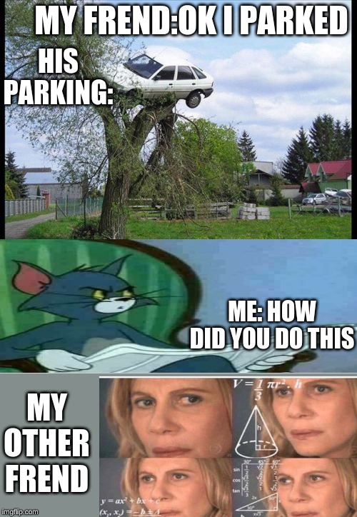 Secure Parking Meme | MY FREND:OK I PARKED HIS PARKING: ME: HOW DID YOU DO THIS MY OTHER FREND | image tagged in memes,secure parking | made w/ Imgflip meme maker