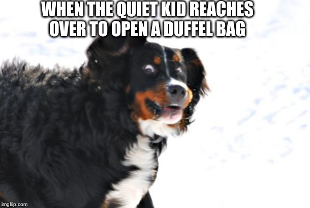 Crazy Dawg Meme |  WHEN THE QUIET KID REACHES OVER TO OPEN A DUFFEL BAG | image tagged in memes,crazy dawg | made w/ Imgflip meme maker