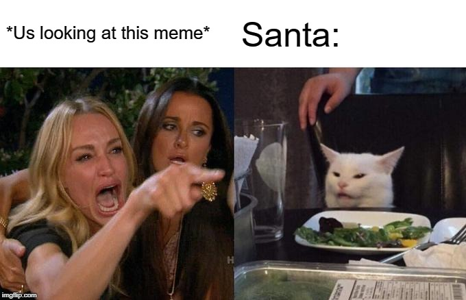 *Us looking at this meme* Santa: | image tagged in memes,woman yelling at cat | made w/ Imgflip meme maker