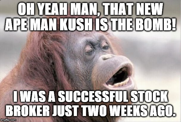 Monkey OOH | OH YEAH MAN, THAT NEW APE MAN KUSH IS THE BOMB! I WAS A SUCCESSFUL STOCK BROKER JUST TWO WEEKS AGO. | image tagged in memes,monkey ooh | made w/ Imgflip meme maker