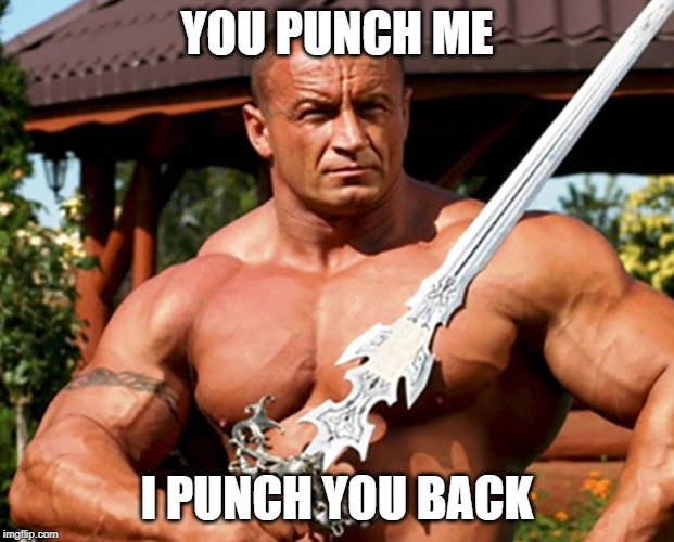 You punch me i punch you back | YOU PUNCH ME I PUNCH YOU BACK | image tagged in strong,murder,humor,funny,funny meme | made w/ Imgflip meme maker
