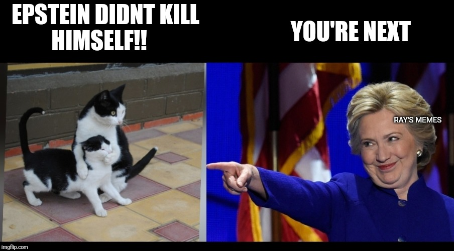 Hillary |  YOU'RE NEXT; EPSTEIN DIDNT KILL          HIMSELF!! RAY'S MEMES | image tagged in hillary | made w/ Imgflip meme maker