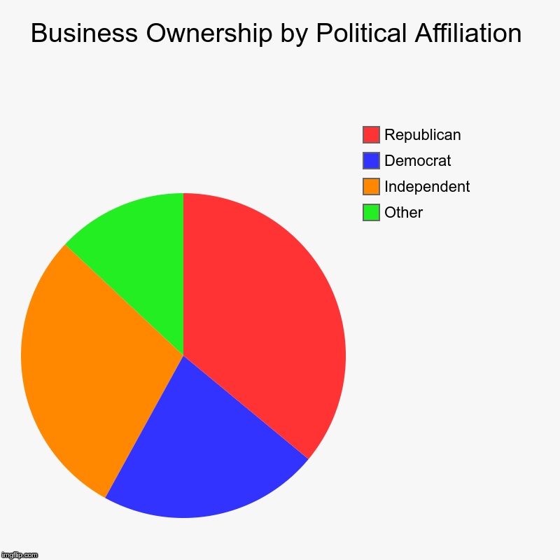 According to American Express | Business Ownership by Political Affiliation | Other, Independent, Democrat, Republican | image tagged in charts,pie charts | made w/ Imgflip chart maker