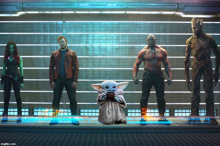 Guardians Improved? | image tagged in memes,funny,baby yoda,guardians of the galaxy,i am groot,mashup | made w/ Imgflip meme maker