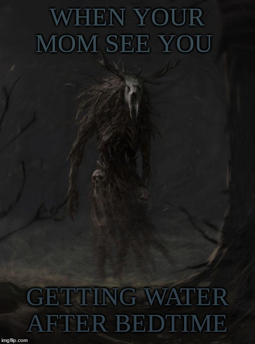uh oh wendigo |  WHEN YOUR MOM SEE YOU; GETTING WATER AFTER BEDTIME | image tagged in are you kidding me wendigo | made w/ Imgflip meme maker