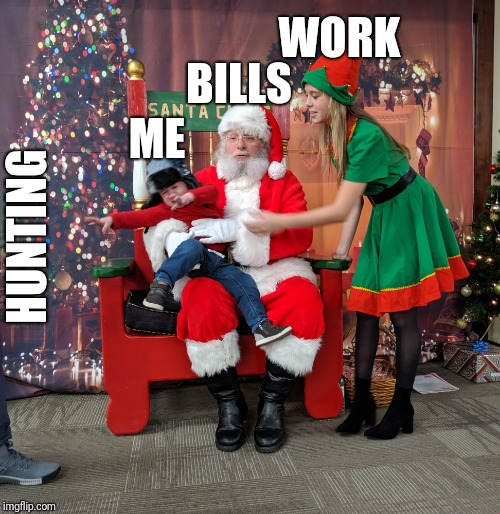 Want vs reality | WORK BILLS ME HUNTING | image tagged in what do we want,need,kids,dear santa,santa | made w/ Imgflip meme maker