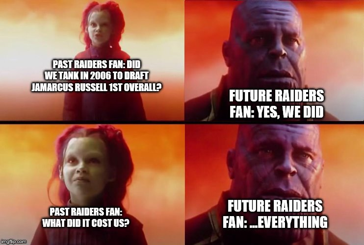 What did it cost? | PAST RAIDERS FAN: DID WE TANK IN 2006 TO DRAFT JAMARCUS RUSSELL 1ST OVERALL? PAST RAIDERS FAN: WHAT DID IT COST US? FUTURE RAIDERS FAN: YES, | image tagged in what did it cost | made w/ Imgflip meme maker
