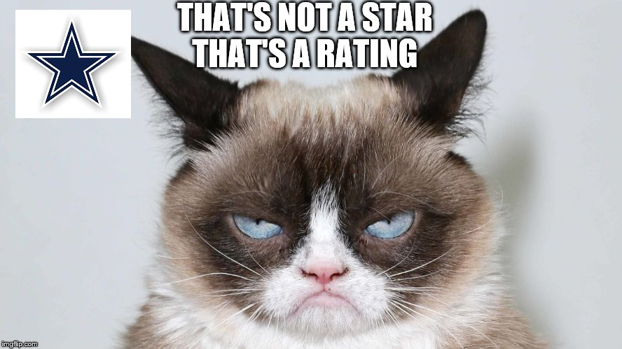 Next Dallas Cowboys coach | THAT'S NOT A STARTHAT'S A RATING | image tagged in dallas cowboys,nfl,nfl memes,football,football meme,grumpy cat | made w/ Imgflip meme maker