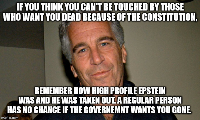 Epsteined | IF YOU THINK YOU CAN'T BE TOUCHED BY THOSE WHO WANT YOU DEAD BECAUSE OF THE CONSTITUTION, REMEMBER HOW HIGH PROFILE EPSTEIN WAS AND HE WAS T | image tagged in jeffrey epstein | made w/ Imgflip meme maker