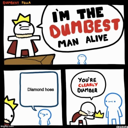 I'm the dumbest man alive | Diamond hoes | image tagged in i'm the dumbest man alive | made w/ Imgflip meme maker