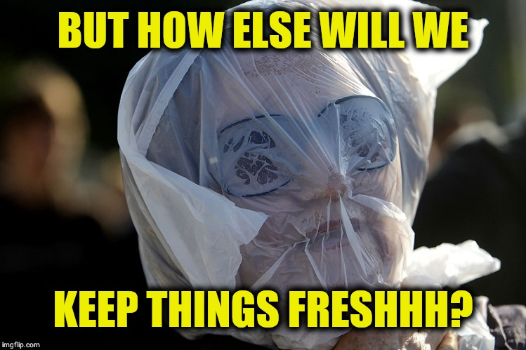BUT HOW ELSE WILL WE KEEP THINGS FRESHHH? | image tagged in plastic bag challenge | made w/ Imgflip meme maker