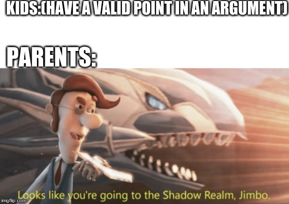 Looks like you're going to the shadow realm jimbo |  KIDS:(HAVE A VALID POINT IN AN ARGUMENT); PARENTS: | image tagged in looks like youre going to the shadow realm jimbo | made w/ Imgflip meme maker