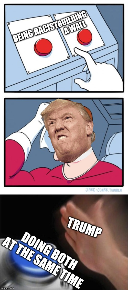 BUILDING A WALL; BEING RACIST; TRUMP; DOING BOTH AT THE SAME TIME | image tagged in memes,two buttons,blank nut button | made w/ Imgflip meme maker