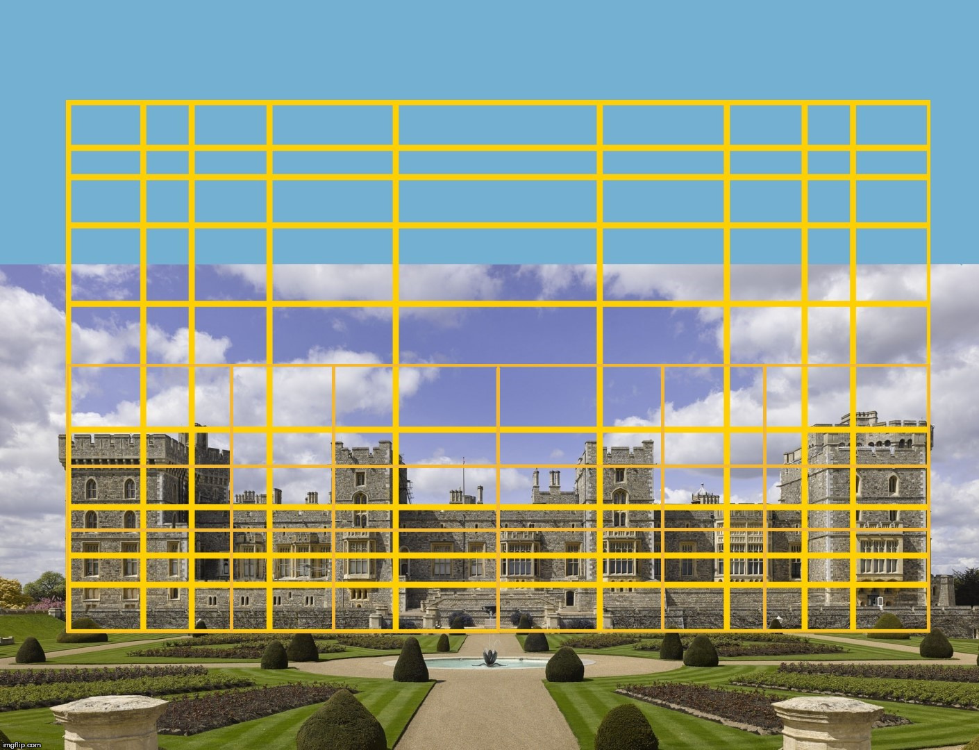 Windsor Castle with a Golden Rectangle overlay. | image tagged in the golden ratio,windsor castle,architecture,geometry,united kingdom,britain | made w/ Imgflip meme maker
