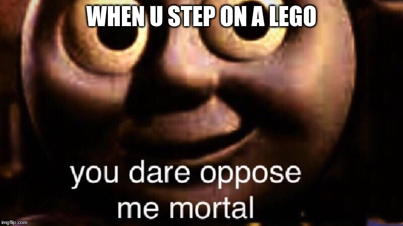 You dare oppose me mortal | WHEN U STEP ON A LEGO | image tagged in you dare oppose me mortal | made w/ Imgflip meme maker