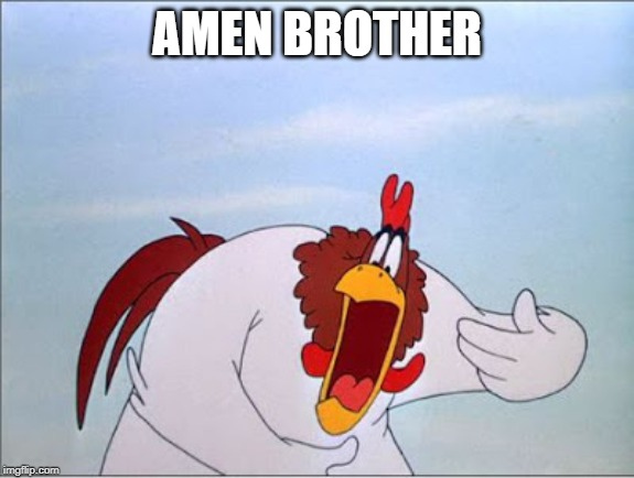 foghorn | AMEN BROTHER | image tagged in foghorn | made w/ Imgflip meme maker