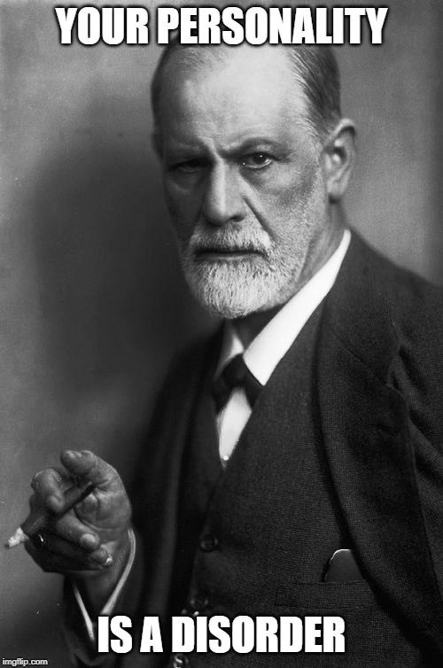 Sigmund Freud Meme |  YOUR PERSONALITY; IS A DISORDER | image tagged in memes,sigmund freud | made w/ Imgflip meme maker
