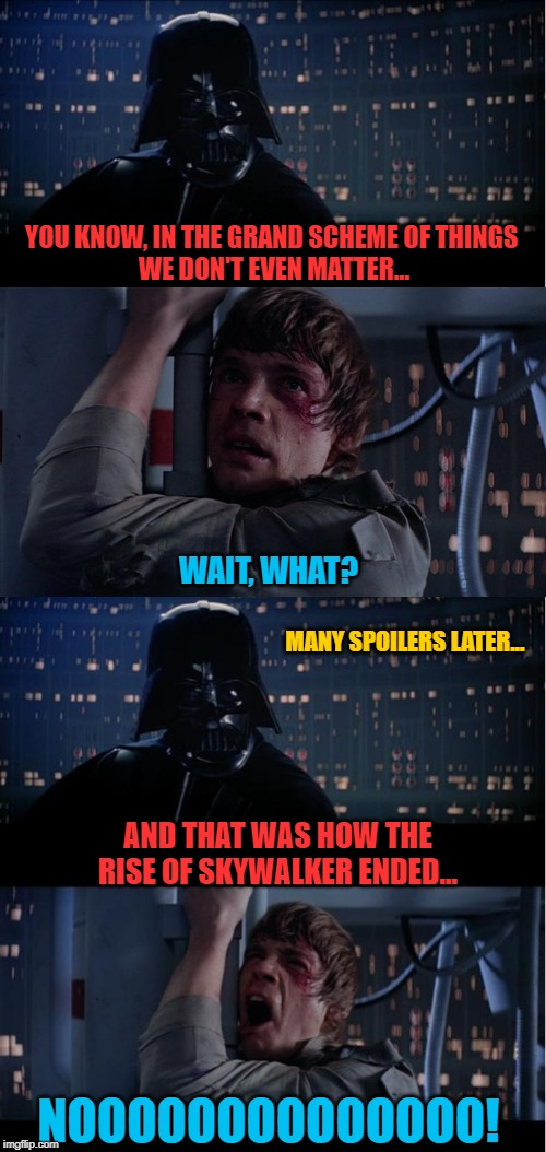 The Ending to Rise of Skywalker (spoiler free version!) |  YOU KNOW, IN THE GRAND SCHEME OF THINGS  WE DON'T EVEN MATTER... WAIT, WHAT? MANY SPOILERS LATER... AND THAT WAS HOW THE RISE OF SKYWALKER ENDED... NOOOOOOOOOOOOOO! | image tagged in luke skywalker,darth vader,emperor palpatine,kylo ren,rey,the rise of skywalker | made w/ Imgflip meme maker