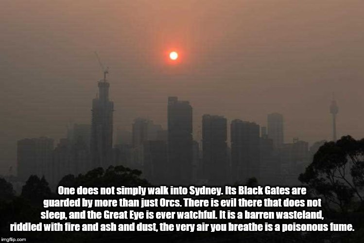 Sydney is Mordor |  One does not simply walk into Sydney. Its Black Gates are guarded by more than just Orcs. There is evil there that does not sleep, and the Great Eye is ever watchful. It is a barren wasteland, riddled with fire and ash and dust, the very air you breathe is a poisonous fume. | image tagged in climate change,denial | made w/ Imgflip meme maker
