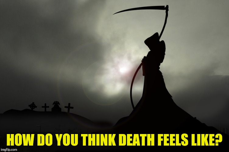Like falling unconscious or something else? Bonus: What do you think happens after it? 2nd bonus: Anyone here ever had an NDE? |  HOW DO YOU THINK DEATH FEELS LIKE? | image tagged in memes,death,powermetalhead,question,grim reaper,philosophy | made w/ Imgflip meme maker