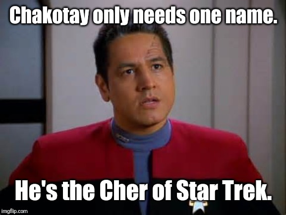Chakotay | Chakotay only needs one name. He's the Cher of Star Trek. | image tagged in star trek,memes | made w/ Imgflip meme maker