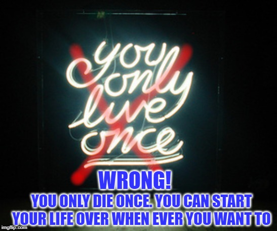 YOLO - Wrong! |  WRONG! YOU ONLY DIE ONCE. YOU CAN START YOUR LIFE OVER WHEN EVER YOU WANT TO | image tagged in yolo,yolo wrong,you onlu live once,you only die once,start over | made w/ Imgflip meme maker